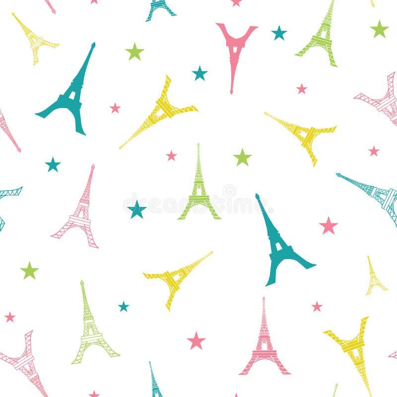 传染媒介五颜六色的埃菲尔山塔巴黎现出轮廓无缝的重复样式 为旅行主题的明信片完善,招呼 向量例证