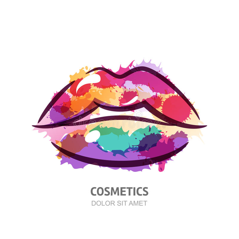 传染媒介五颜六色的妇女的嘴唇的水彩例证 向量例证