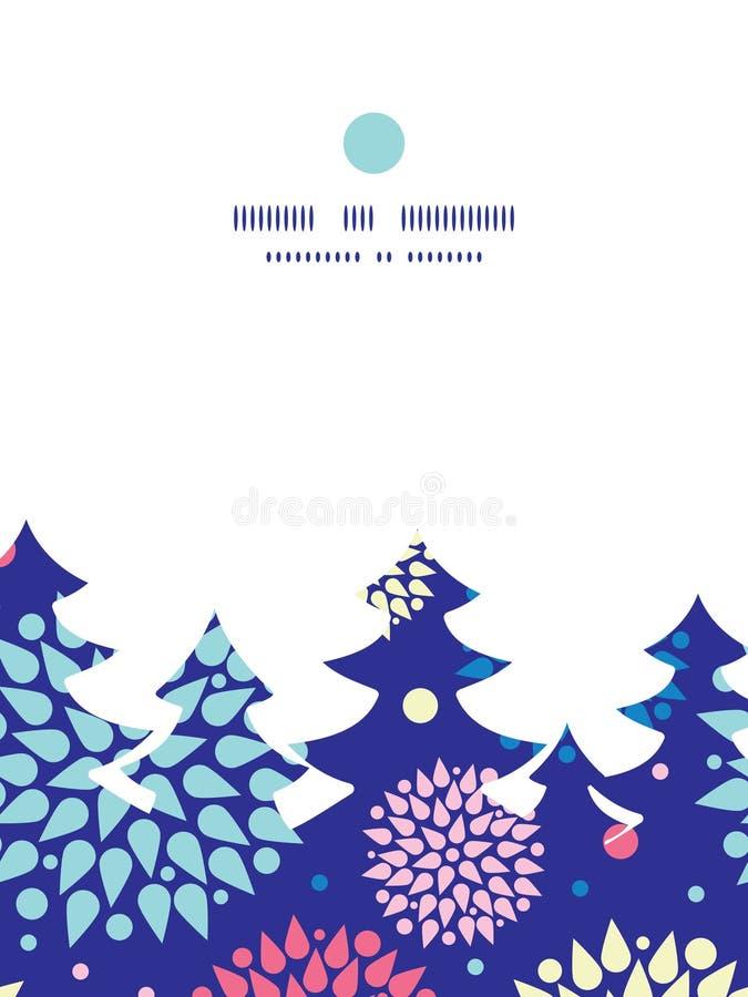 传染媒介五颜六色的爆炸圣诞树剪影 皇族释放例证