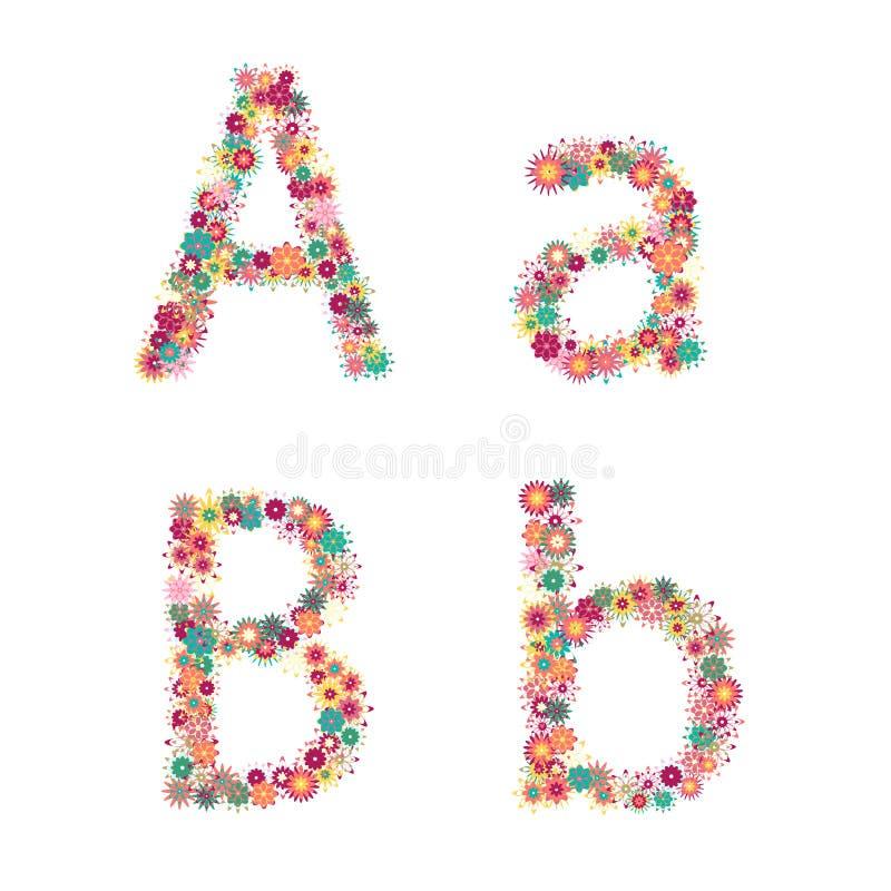 传染媒介五颜六色的花字体。 向量例证