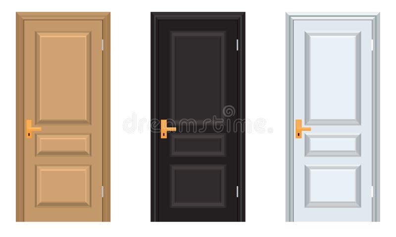 传染媒介五颜六色绝密与框架 白色黑棕色门 向量例证