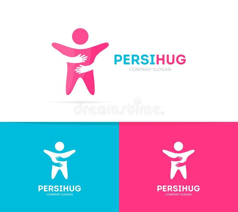 传染媒介人和手商标组合 人和容忍标志或者象 独特的队和友谊略写法设计 库存例证