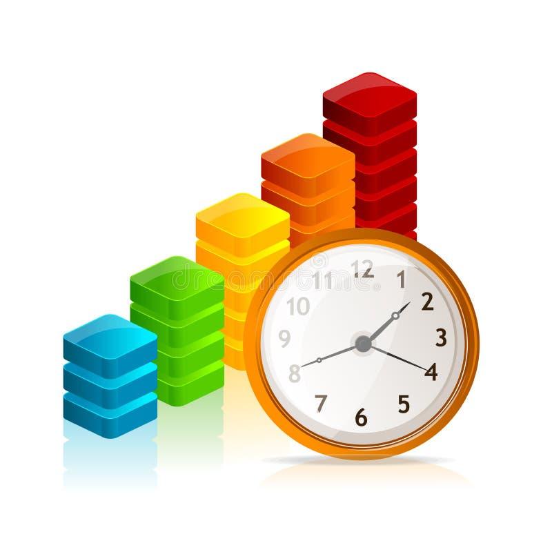 传染媒介企业图表和时钟 向量例证