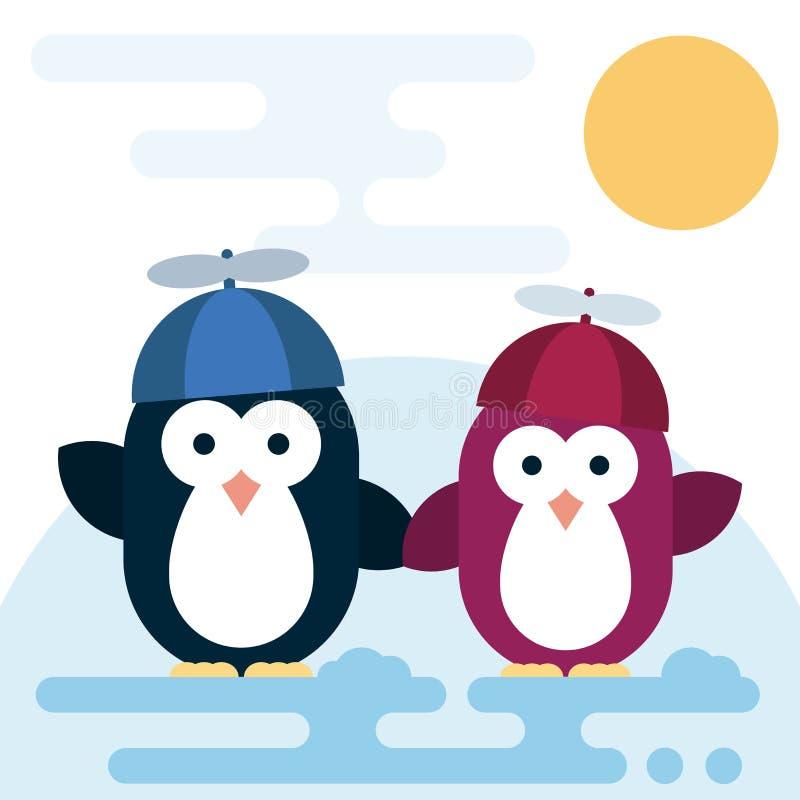 传染媒介企鹅字符传统化了作为有推进器帽子的孩子 皇族释放例证