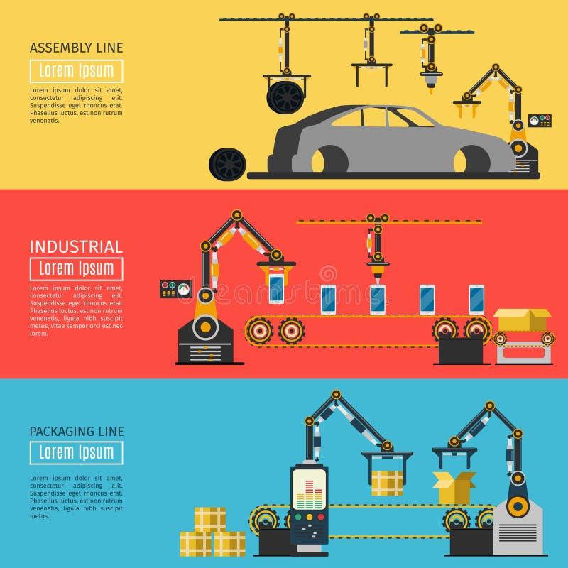 传染媒介传动机水平的横幅 制造的工业自动化机器人手 库存例证
