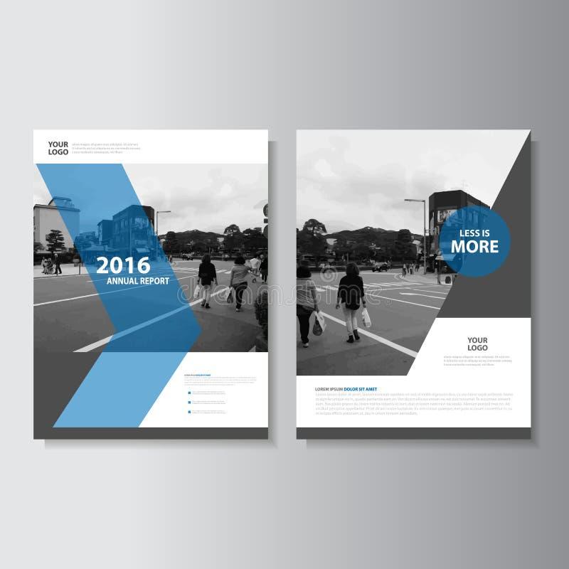 传染媒介传单小册子飞行物模板a4大小设计,年终报告书套布局设计,抽象蓝色介绍 库存例证
