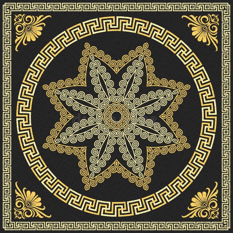 传染媒介传统葡萄酒金希腊装饰品(我 皇族释放例证