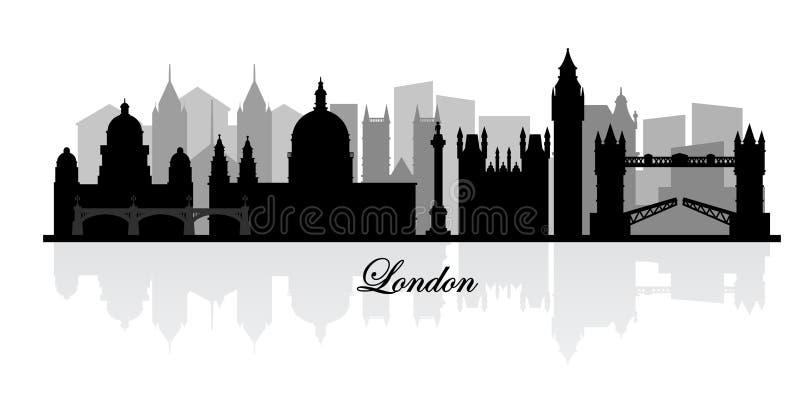 传染媒介伦敦地平线剪影 皇族释放例证