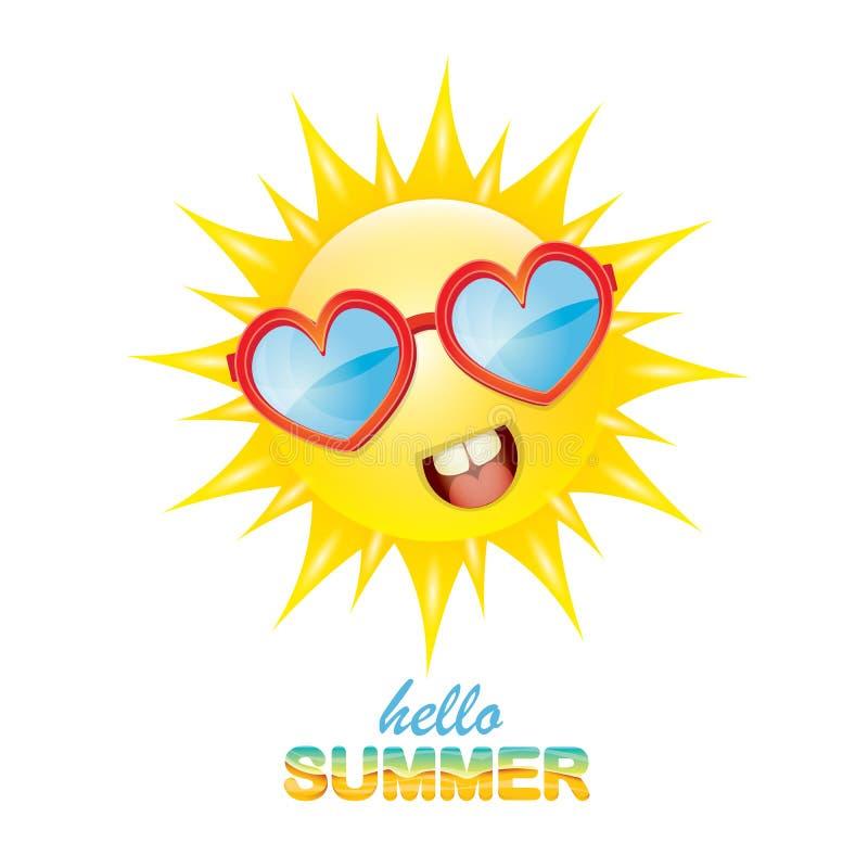 传染媒介你好与微笑的发光的太阳的夏天标签 皇族释放例证
