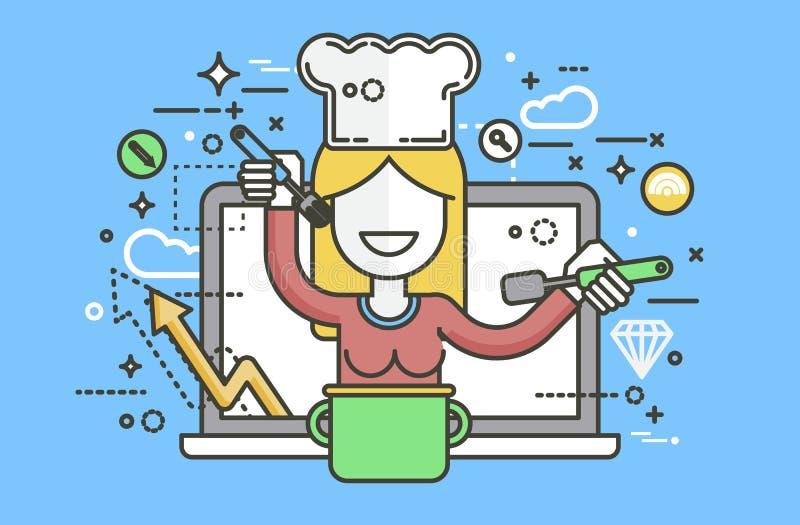 传染媒介例证厨师厨师营养师烹调训练教育食谱博克适当健康的营养师妇女HLS 皇族释放例证