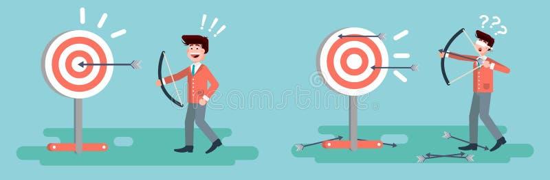 传染媒介例证商人击中从弓权利错误解答事务的目标不成功和成功的射击 皇族释放例证