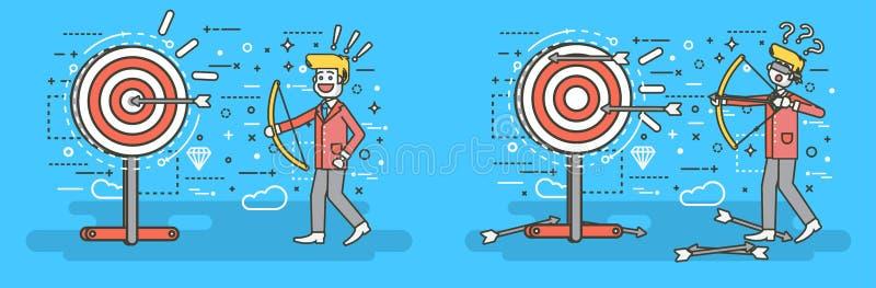 传染媒介例证商人击中从弓权利错误解答事务的目标不成功和成功的射击 向量例证