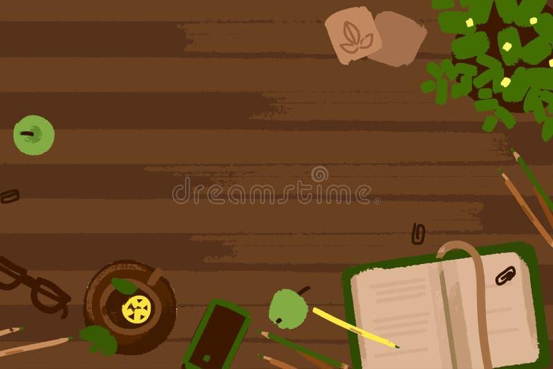 传染媒介例证套办公室和事务运作在木书桌纹理的元素在平的设计 顶视图 皇族释放例证