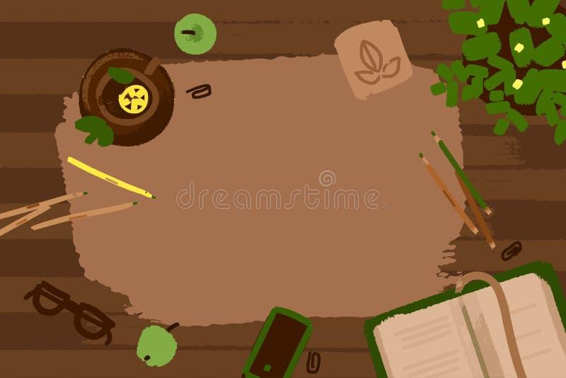 传染媒介例证套办公室和事务运作在木书桌纹理的元素在平的设计 顶视图 库存例证