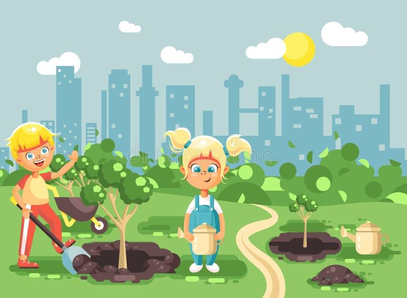 传染媒介例证孩子男孩和女孩漫画人物开掘在地面的孔种植的在庭院幼木  皇族释放例证