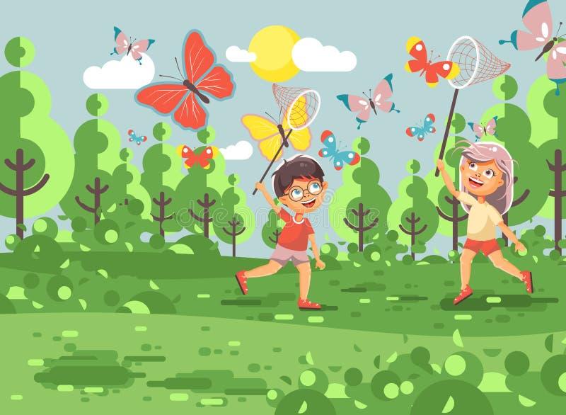 传染媒介例证漫画人物两孩子、年轻博物学家、生物学家男孩和女孩捉住五颜六色的蝴蝶 向量例证