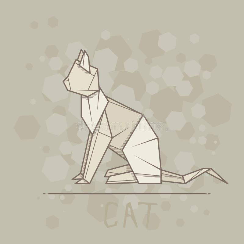 传染媒介例证猫纸origami  库存例证
