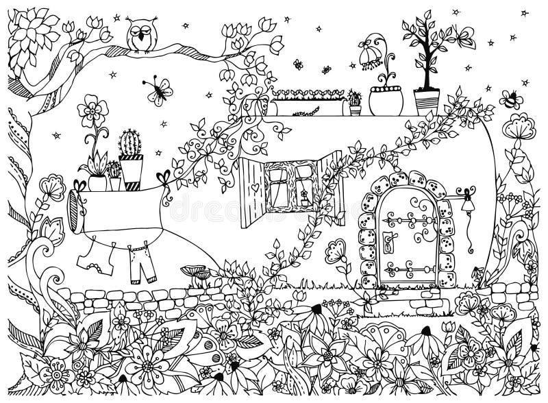 传染媒介例证瓶的zentangle房子 传说乱画, zenart,庭院,花,树,猫头鹰 议院美妙的门 皇族释放例证
