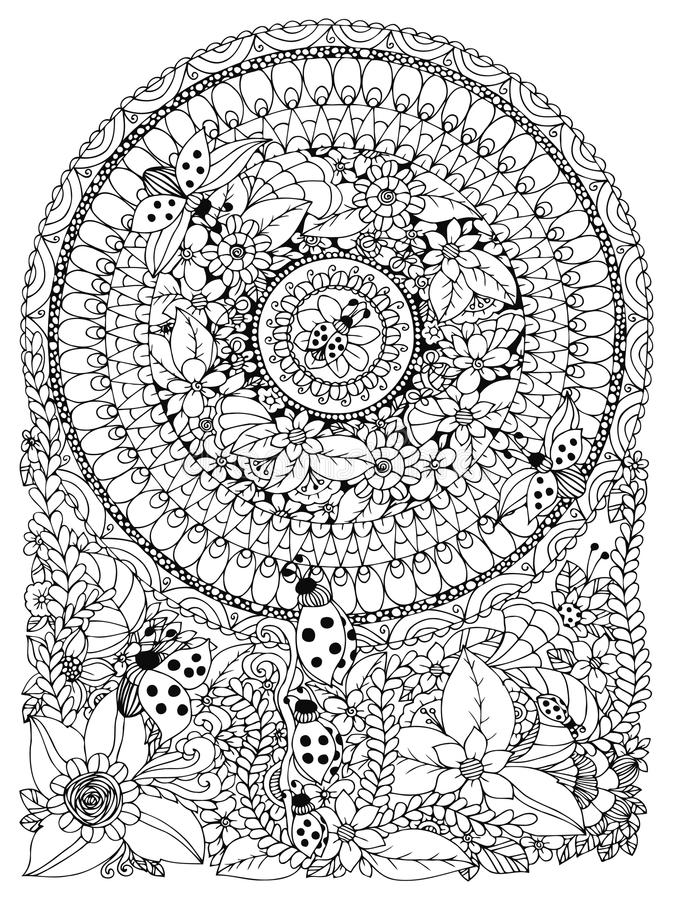 传染媒介例证禅宗在花的缠结瓢虫 Manali,乱画,圈子 成人的彩图反重音 黑色白色 向量例证