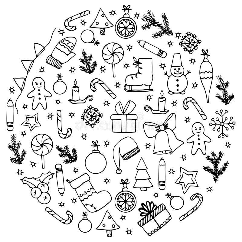 传染媒介例证禅宗缠结,圈子元素圣诞节 乱画图画 库存例证