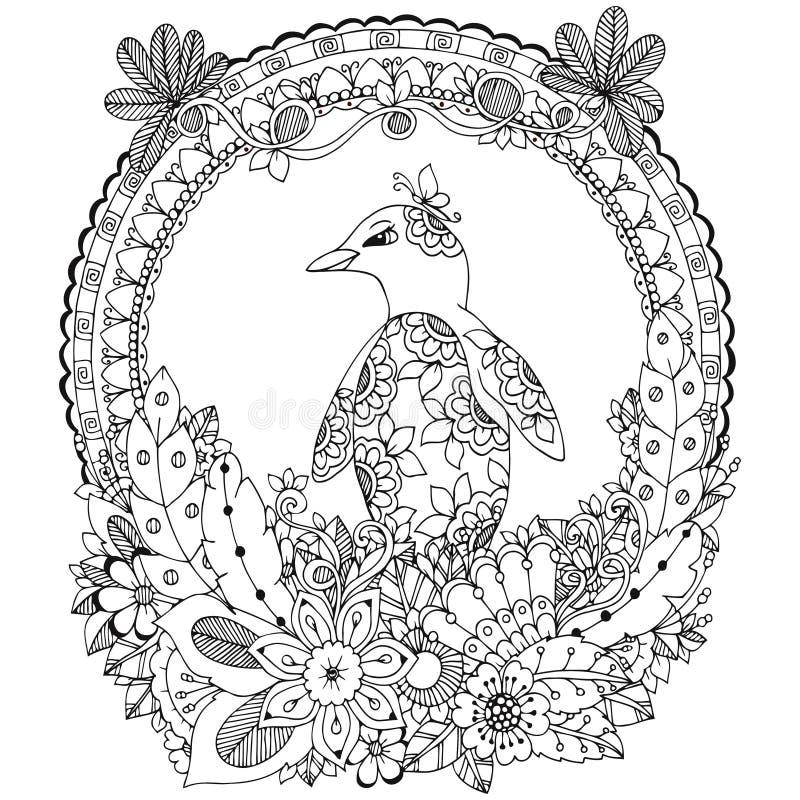 传染媒介例证禅宗缠结,在花框架的一只企鹅 乱画图画 成人的彩图反重音 投反对票 皇族释放例证