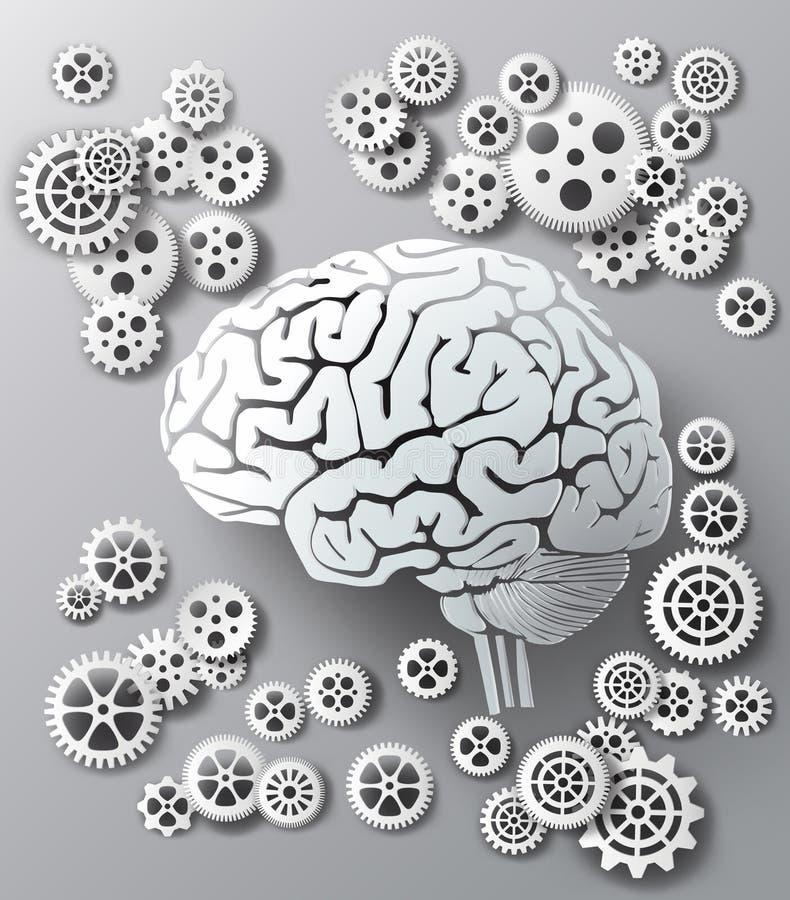传染媒介例证脑子和齿轮 皇族释放例证