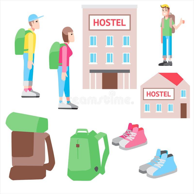 传染媒介例证被设置的便宜的旅行 向量例证