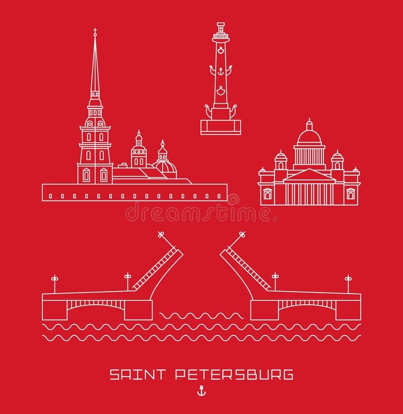 传染媒介例证象设置了-圣彼得堡,俄罗斯的标志 被画的简单的线 向量例证