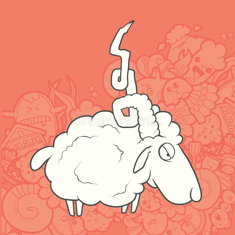 传染媒介例证逗人喜爱的手拉的绵羊 库存例证