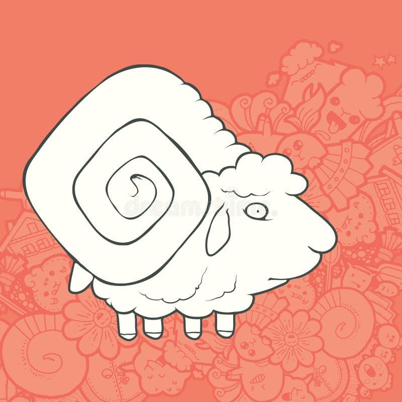 传染媒介例证逗人喜爱的手拉的绵羊 向量例证