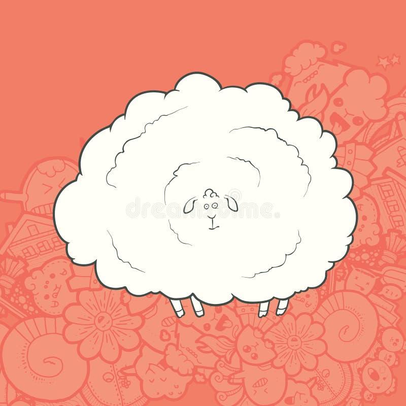 传染媒介例证逗人喜爱的手拉的绵羊 皇族释放例证