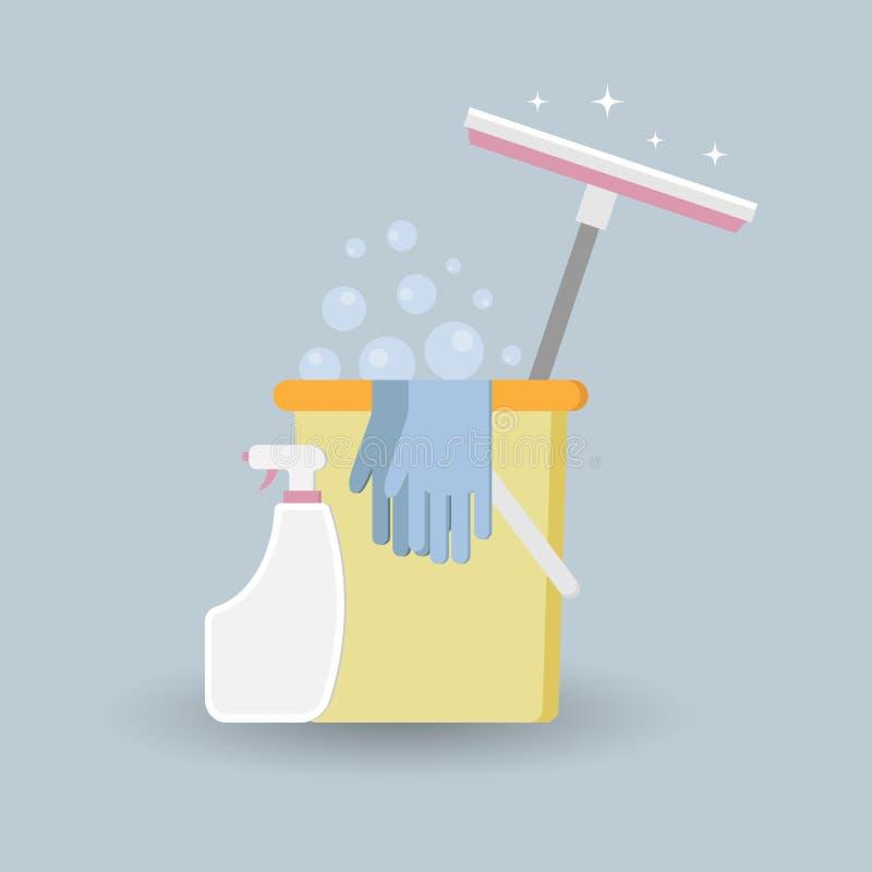 传染媒介例证,为洗涤窗口的工具 库存例证