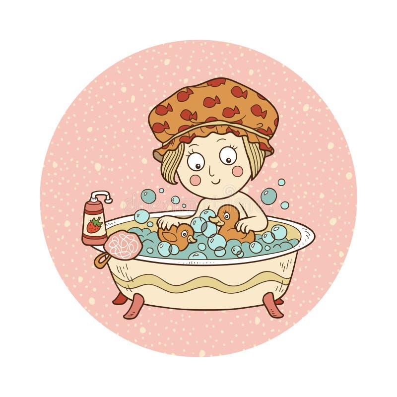传染媒介例证:一个浴缸的小女孩有肥皂泡的 皇族释放例证