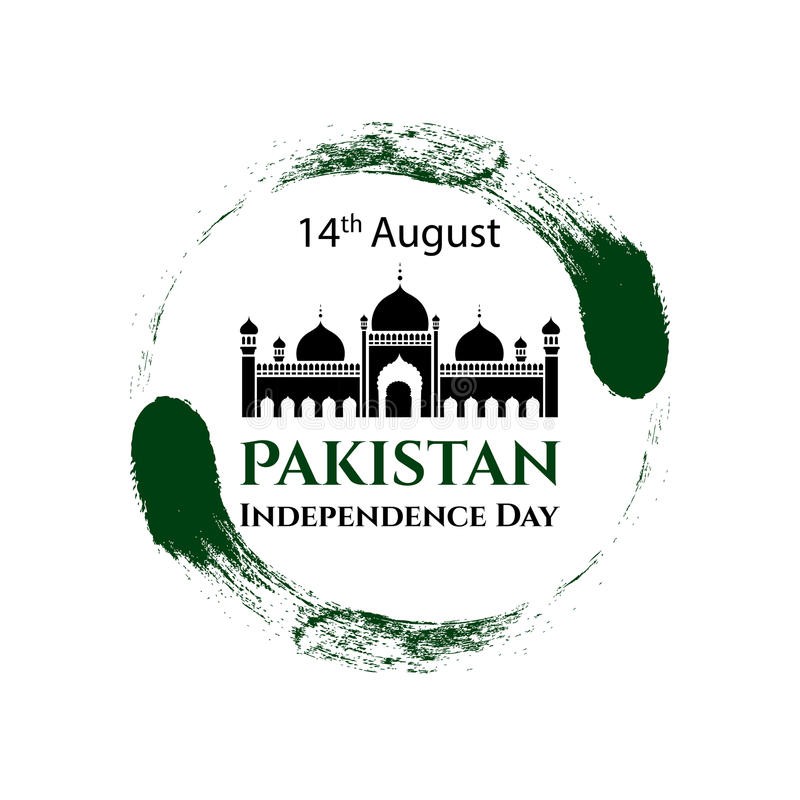 传染媒介例证巴基斯坦美国独立日 在时髦葡萄酒样式的巴基斯坦旗子 8月14日海报的,横幅设计模板 库存例证