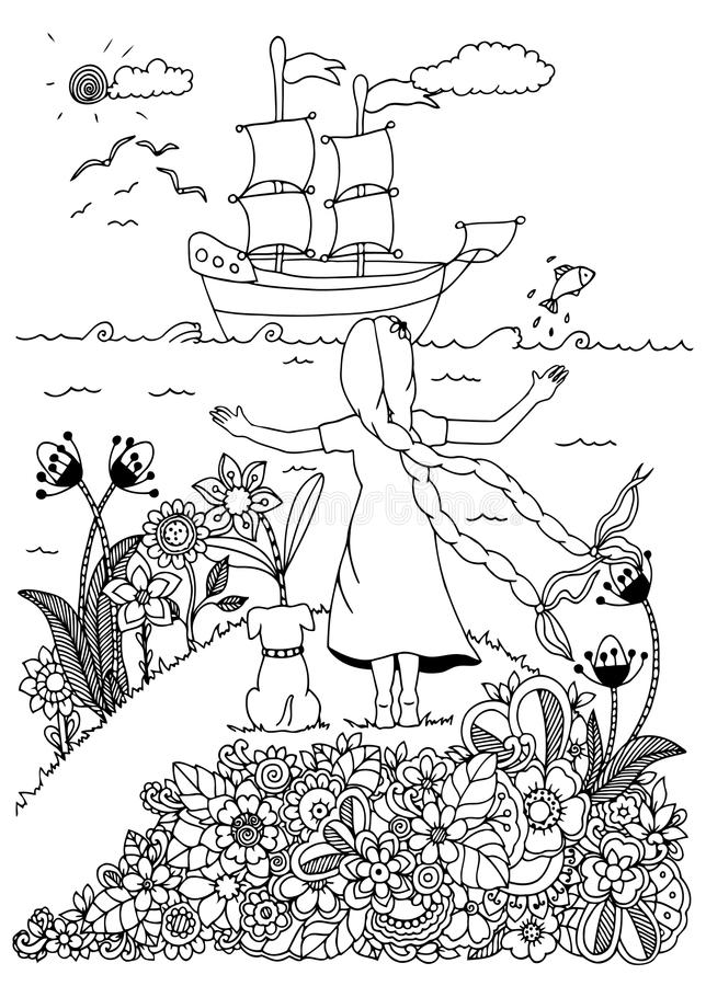 传染媒介例证zentangl、女孩和狗遇见船 乱画图画 成人的彩图反重音 投反对票 皇族释放例证