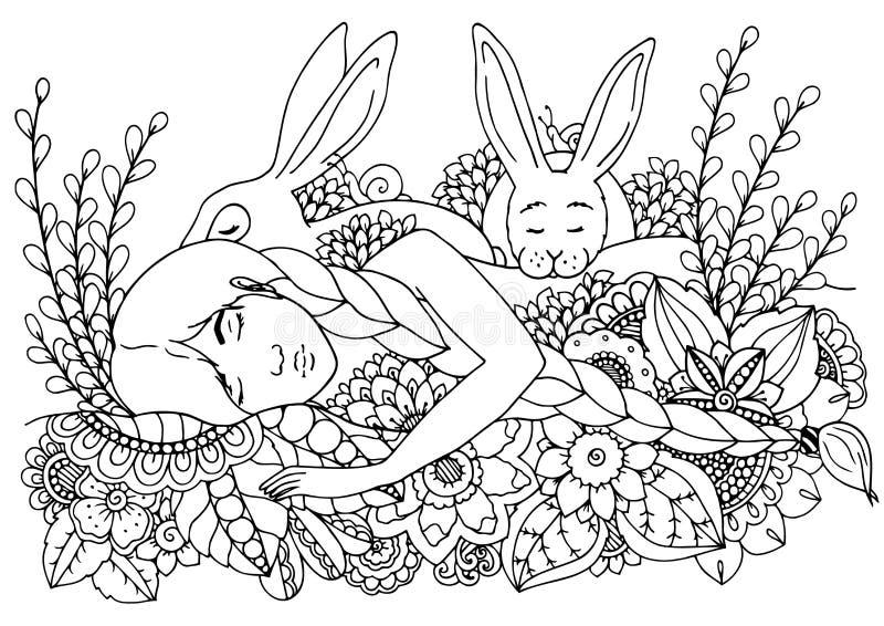 传染媒介例证zentangl睡觉的女孩和野兔 乱画画图铅笔 成人反重音的着色页 投反对票 向量例证