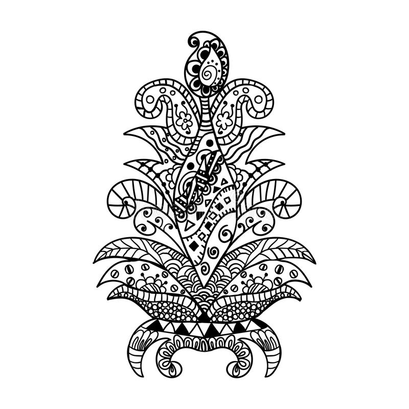 传染媒介例证zentangl,花 乱画图画 冥想的锻炼 成人的彩图反重音 投反对票 皇族释放例证