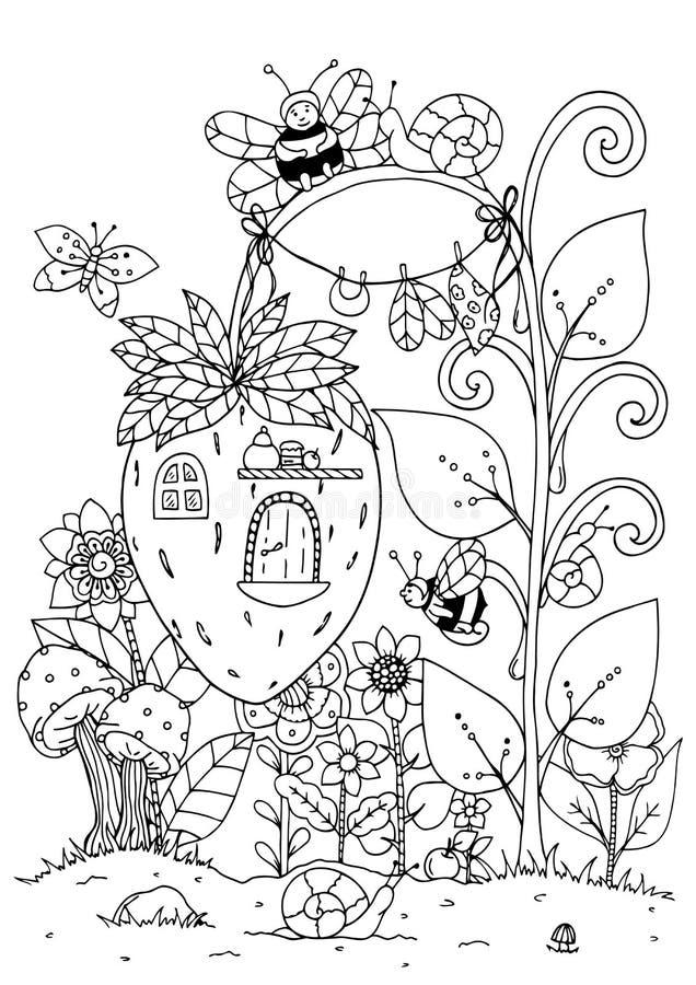 传染媒介例证zentangl 草莓和蜂乱画房子  成人的着色页反重音 黑色白色 库存例证