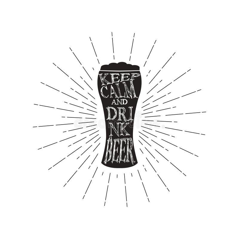 传染媒介保持镇静和饮料啤酒-引述在杯啤酒里面 单色葡萄酒啤酒行情 查出在白色 库存例证