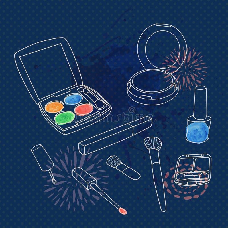 传染媒介做设置与刷子,眼影膏调色板,面粉,指甲油 皇族释放例证