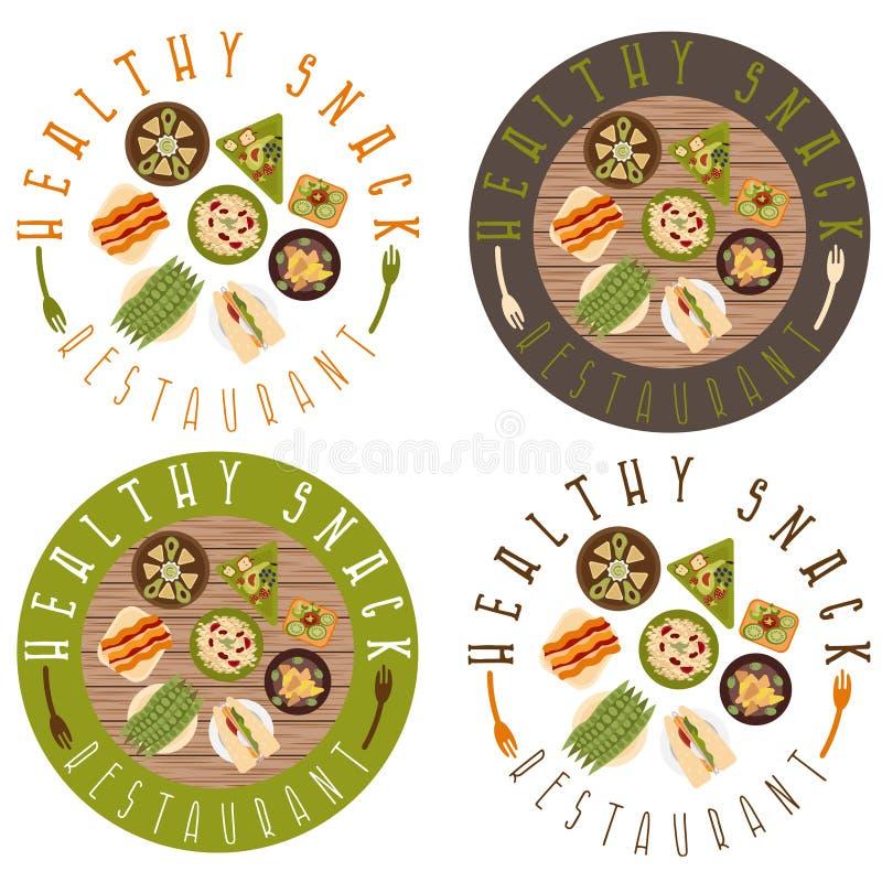 传染媒介健康食物的标号组 库存例证