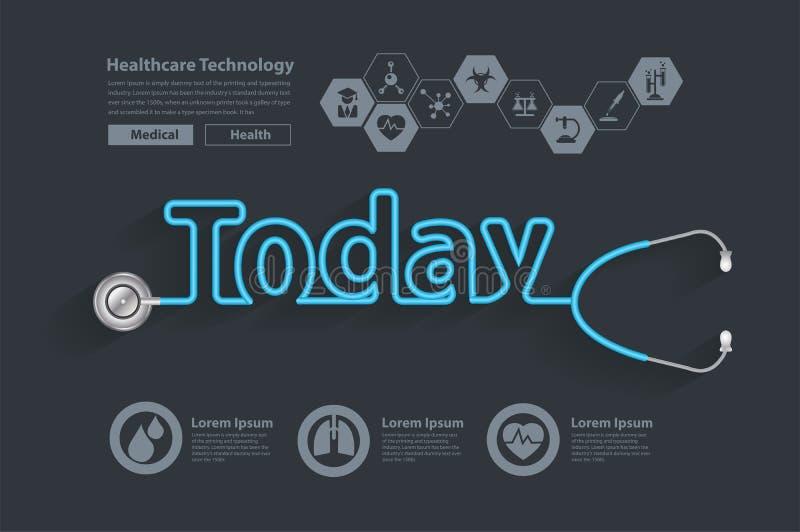 传染媒介健康今天想法概念听诊器设计 库存例证