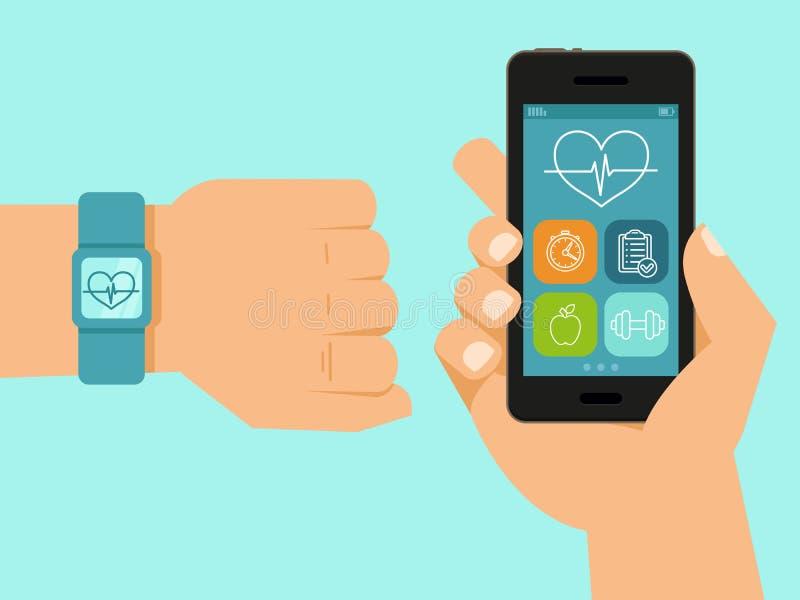 传染媒介健身app和跟踪仪 库存例证