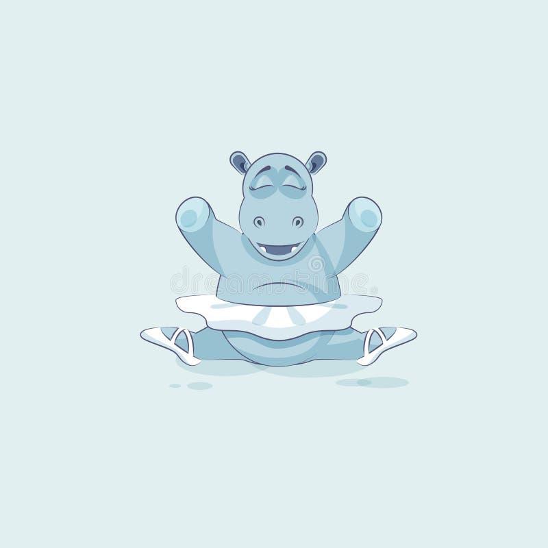 传染媒介储蓄例证被隔绝的Emoji字符动画片芭蕾舞女演员河马在分裂坐 皇族释放例证