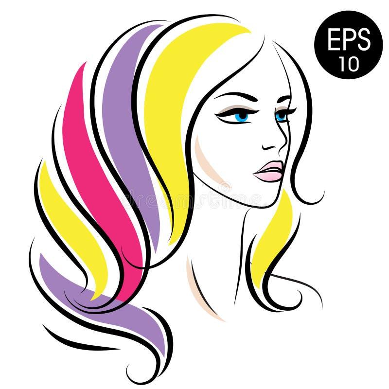 传染媒介储蓄妇女面孔 秀丽与五颜六色的头发的女孩画象 向量例证