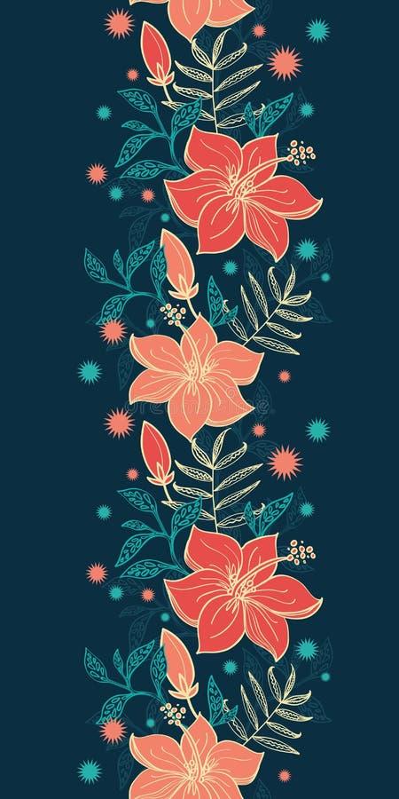 传染媒介充满活力的热带木槿开花垂直 向量例证