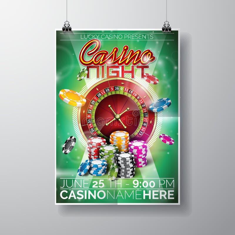 传染媒介党在一个赌博娱乐场题材的飞行物设计与芯片和轮盘赌的赌轮在绿色背景 库存例证