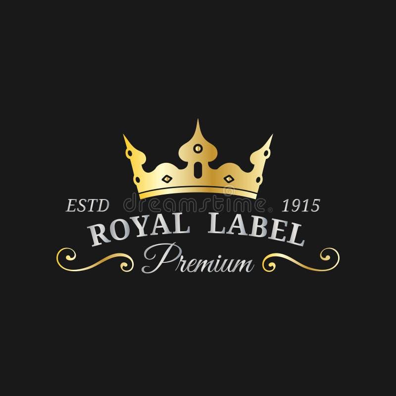 传染媒介冠商标模板 豪华光环组合图案设计 王冠象例证 使用为旅馆,餐馆卡片等 向量例证