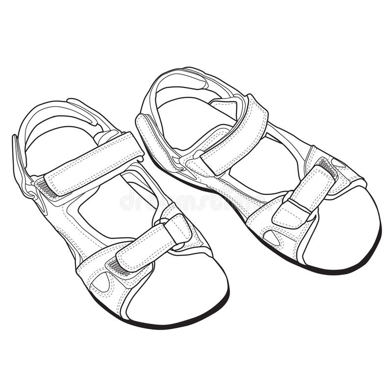 传染媒介凉鞋线艺术。 皇族释放例证
