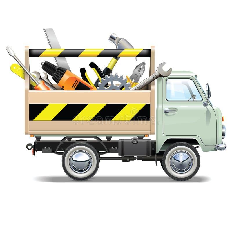 传染媒介减速火箭的卡车工具箱搬运车 免版税库存照片